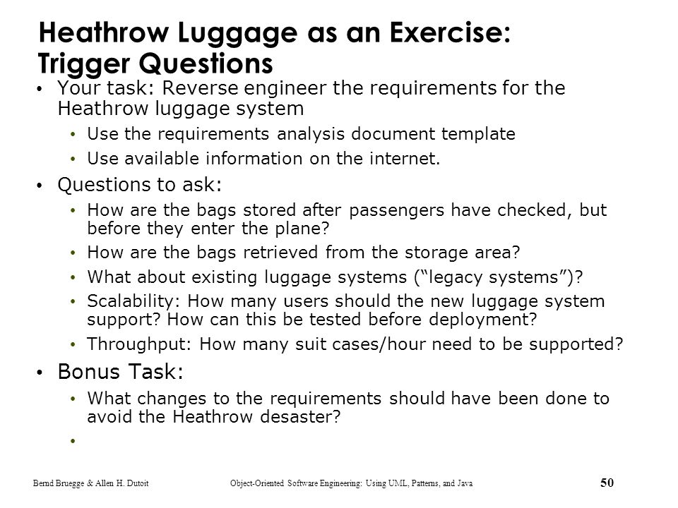 Heathrow Luggage as an Exercise: Trigger Questions