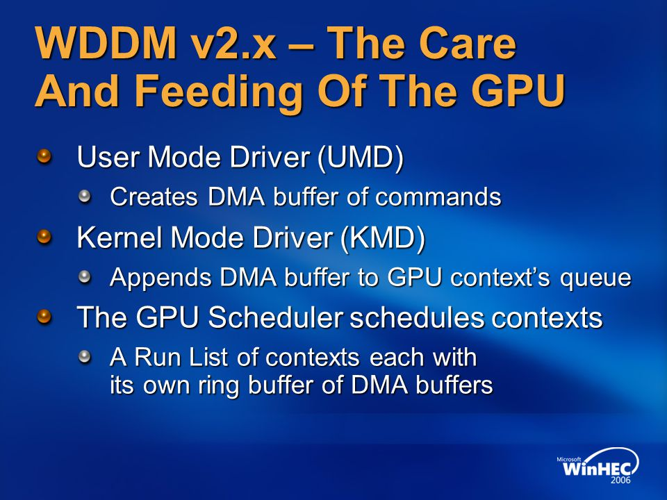 WDDM v2.x – The Care And Feeding Of The GPU
