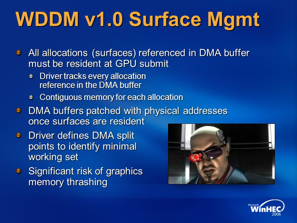 WDDM v1.0 Surface Mgmt All allocations (surfaces) referenced in DMA buffer must be resident at GPU submit.