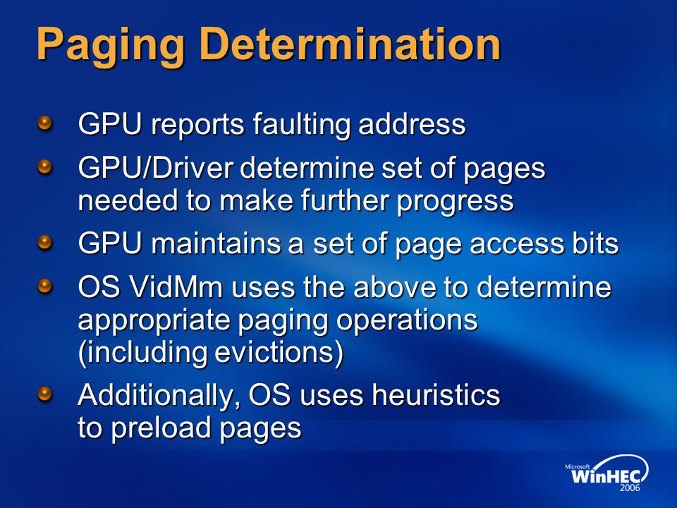 Paging Determination GPU reports faulting address