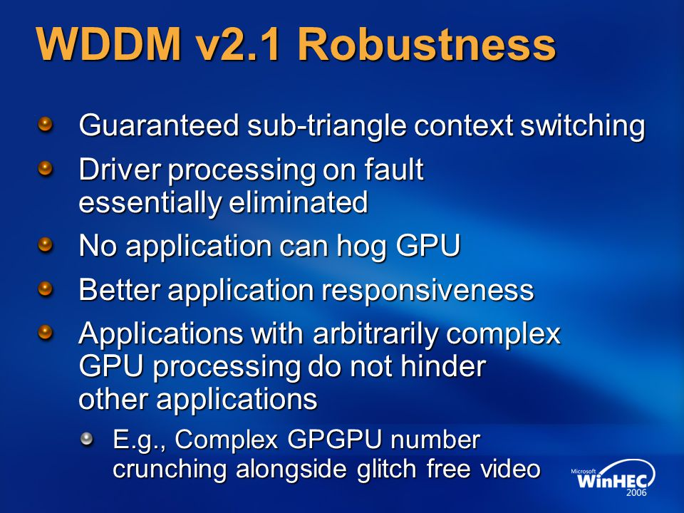 WDDM v2.1 Robustness Guaranteed sub-triangle context switching