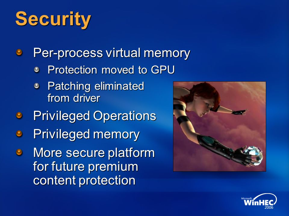 Security Per-process virtual memory Privileged Operations