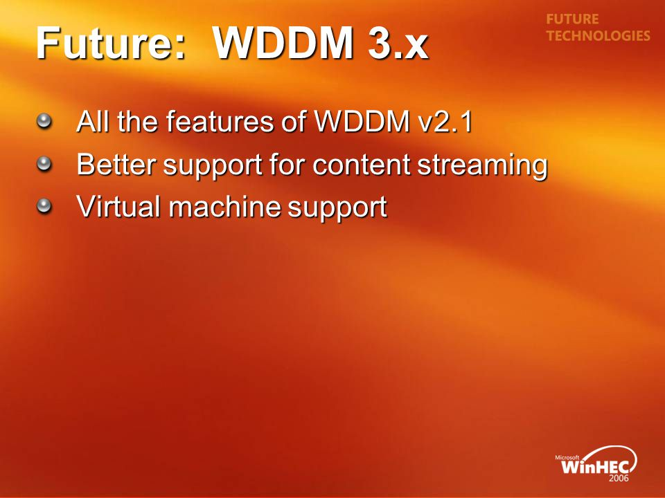 Future: WDDM 3.x All the features of WDDM v2.1