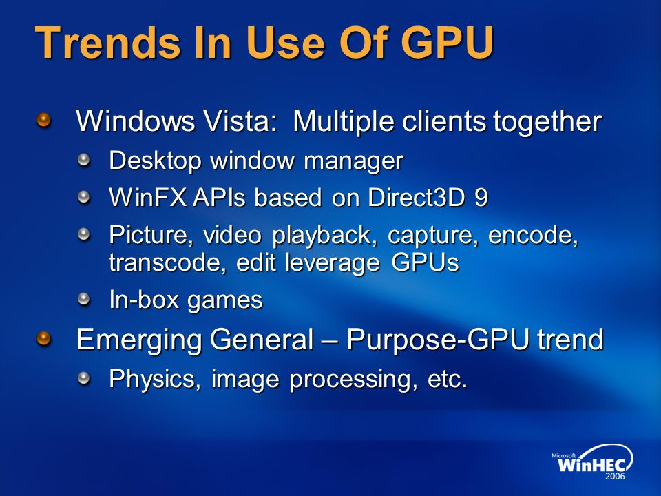 Trends In Use Of GPU Windows Vista: Multiple clients together