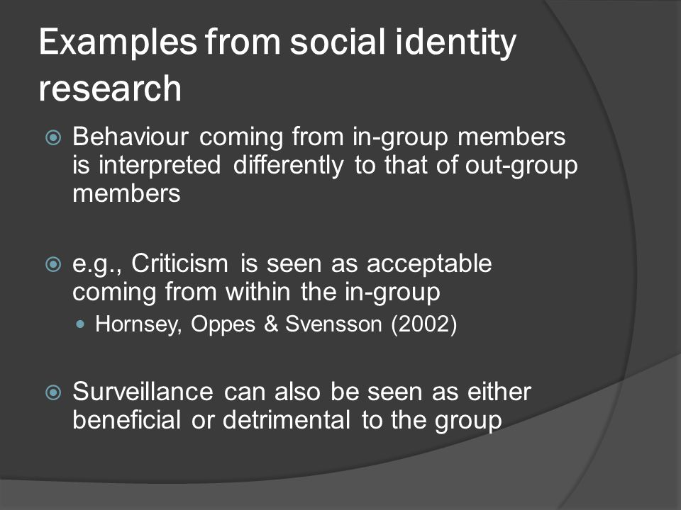 Examples from social identity research