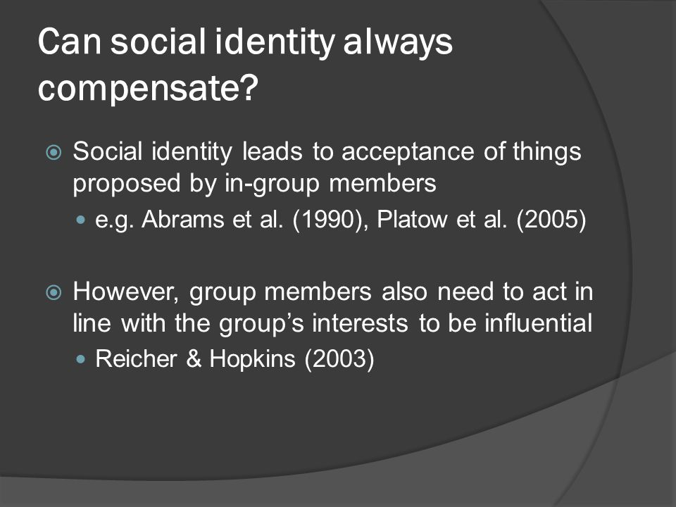 Can social identity always compensate