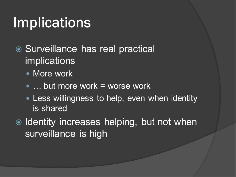 Implications Surveillance has real practical implications