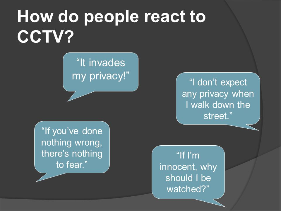How do people react to CCTV