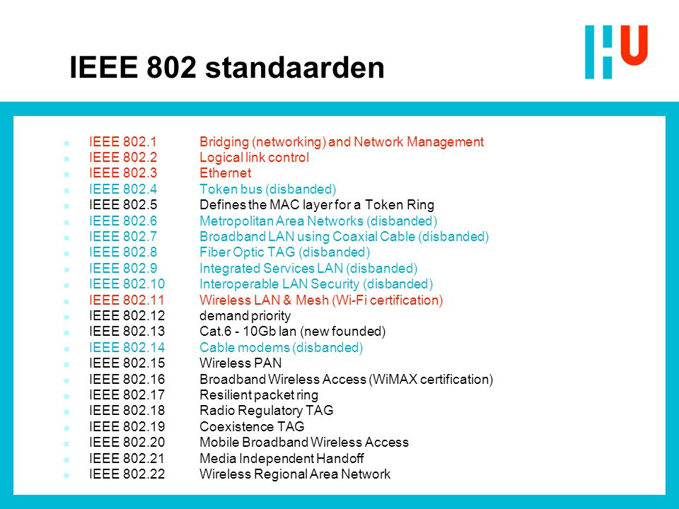 IEEE 802 standaarden IEEE 802.1 Bridging (networking) and Network Management. IEEE 802.2 Logical link control.