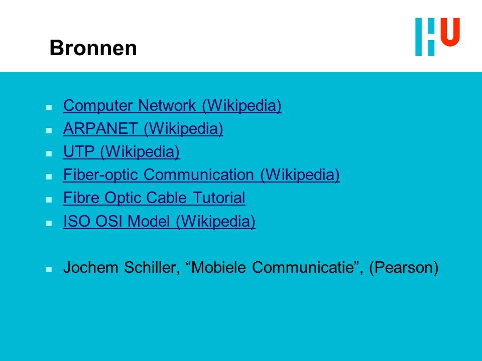 Bronnen Computer Network (Wikipedia) ARPANET (Wikipedia)