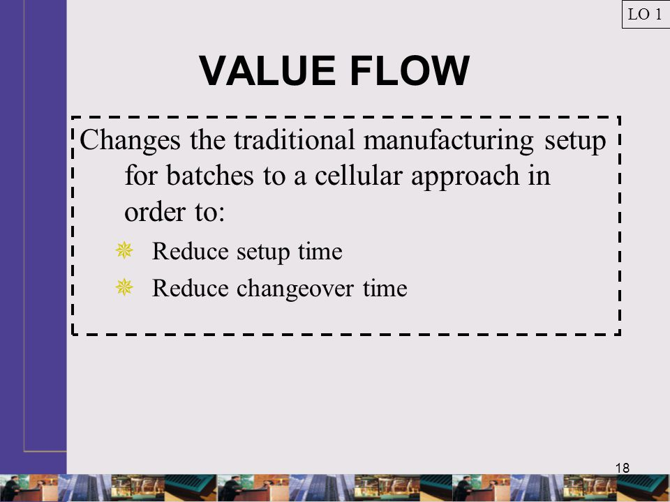 LO 1 VALUE FLOW. Changes the traditional manufacturing setup for batches to a cellular approach in order to: