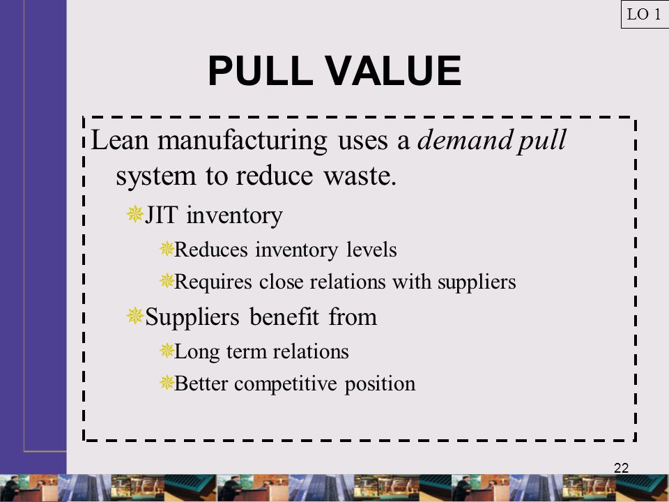 LO 1 PULL VALUE. Lean manufacturing uses a demand pull system to reduce waste. JIT inventory. Reduces inventory levels.