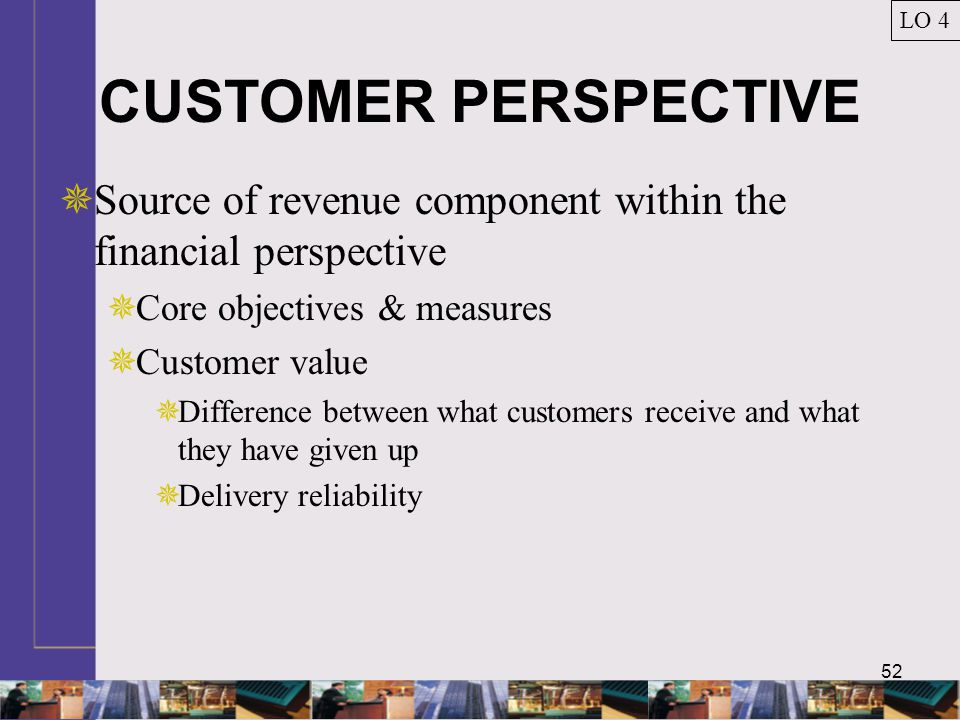 LO 4 CUSTOMER PERSPECTIVE. Source of revenue component within the financial perspective. Core objectives & measures.