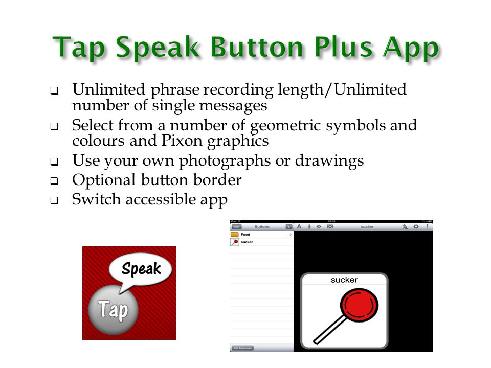 Tap Speak Button Plus App