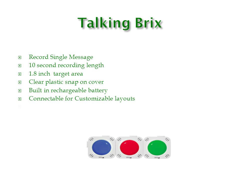 Talking Brix D /itch jack for specialty switch Record Single Message