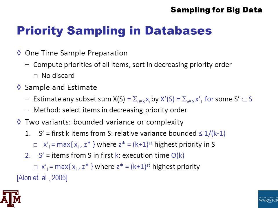 Priority Sampling in Databases