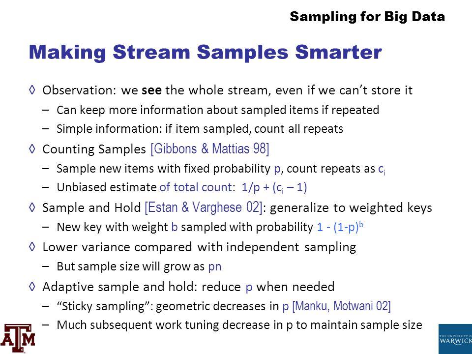 Making Stream Samples Smarter