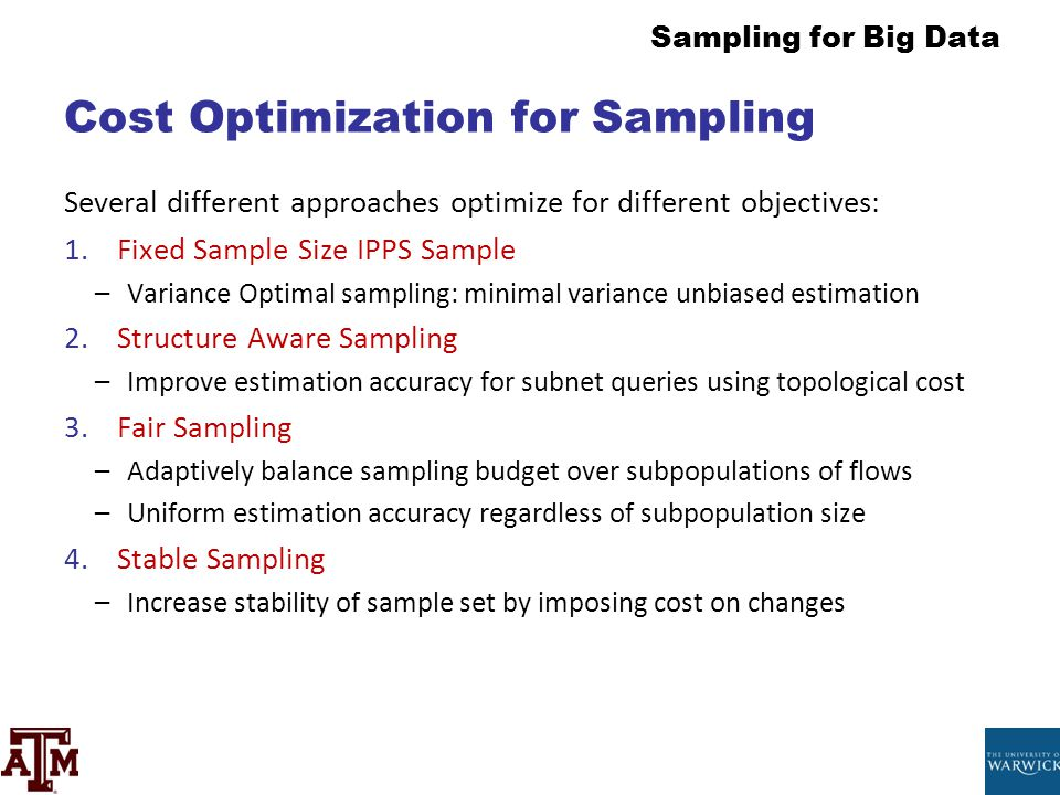 Cost Optimization for Sampling