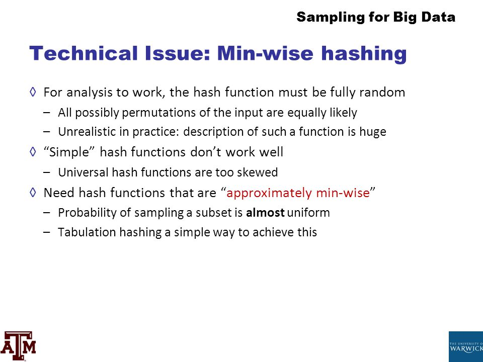 Technical Issue: Min-wise hashing