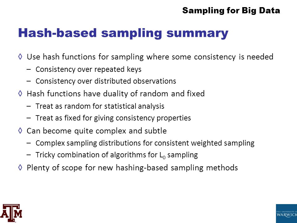 Hash-based sampling summary