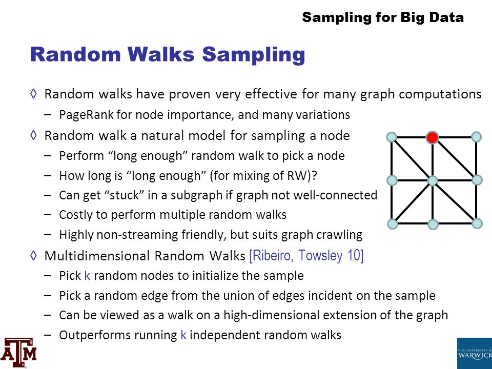Random Walks Sampling Random walks have proven very effective for many graph computations. PageRank for node importance, and many variations.