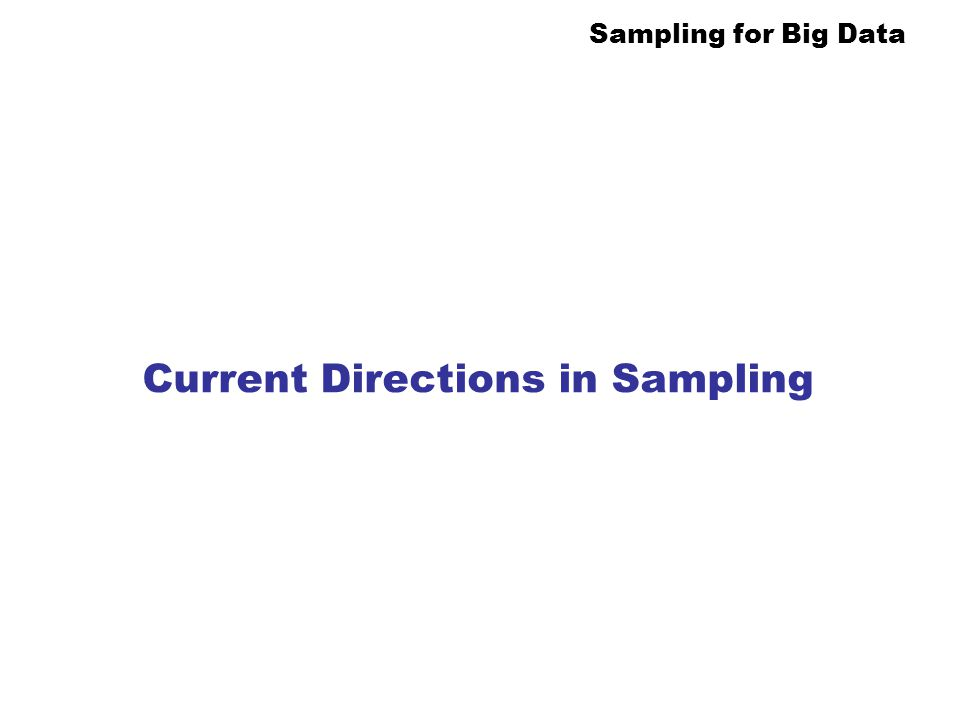 Current Directions in Sampling
