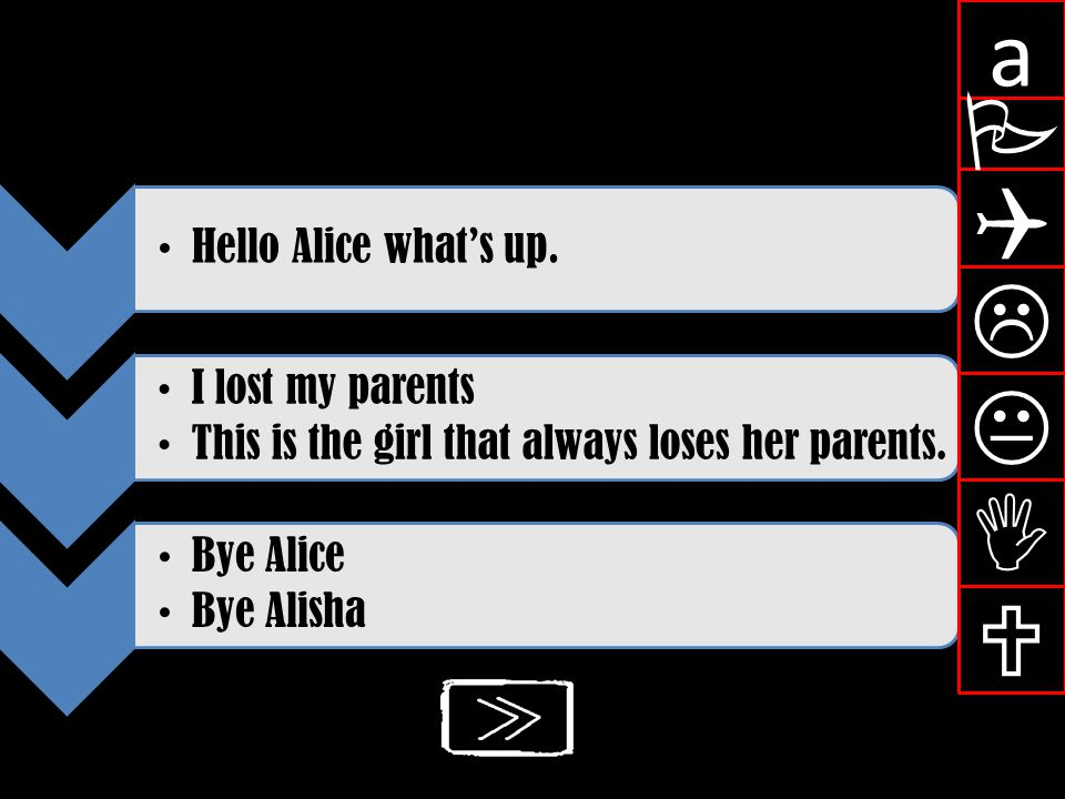 a P Q L K I U Hello Alice what's up. I lost my parents