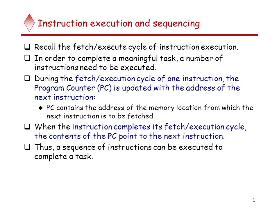 Instruction execution and sequencing (contd..)