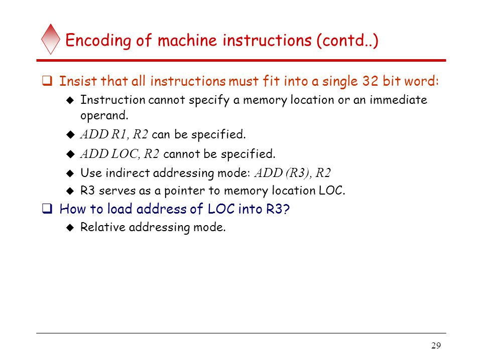 Encoding of machine instructions (contd..)