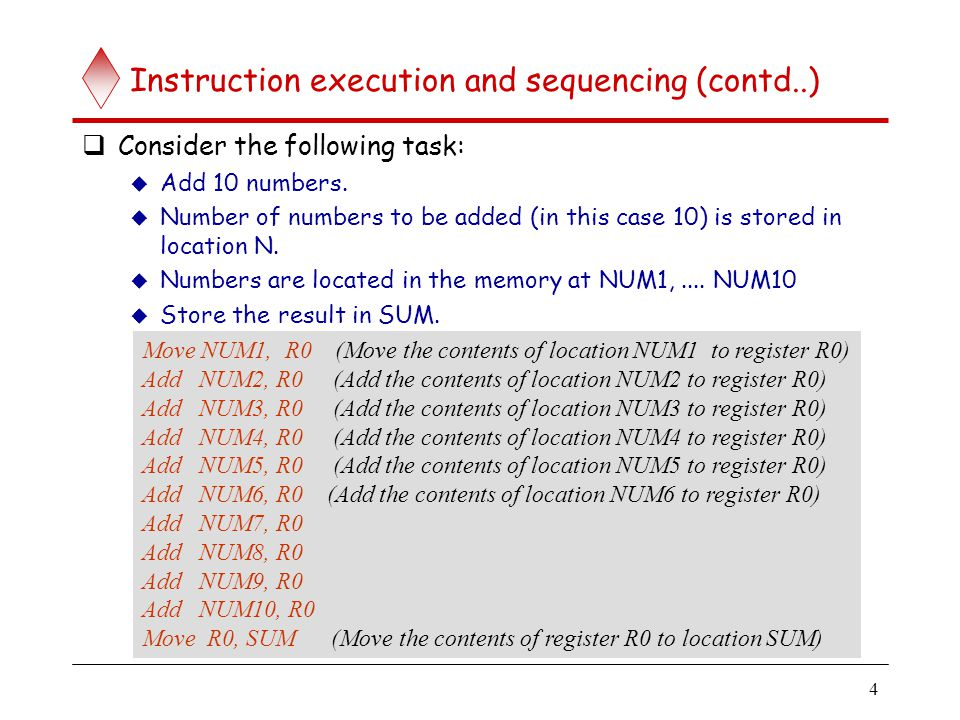 Instruction sequencing and execution (contd..)
