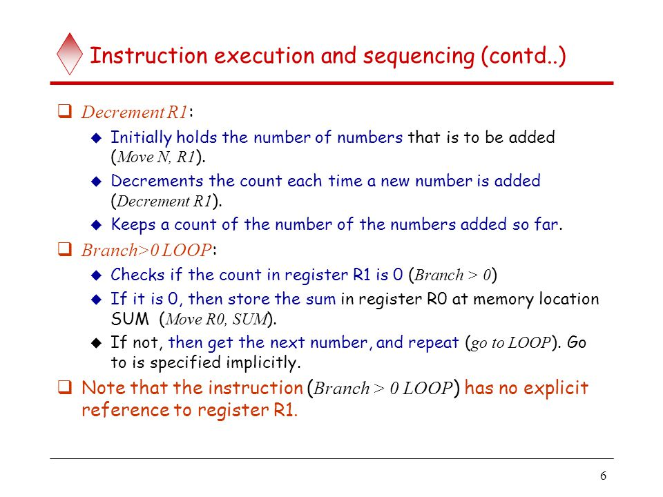 Instructions execution and sequencing (contd..)