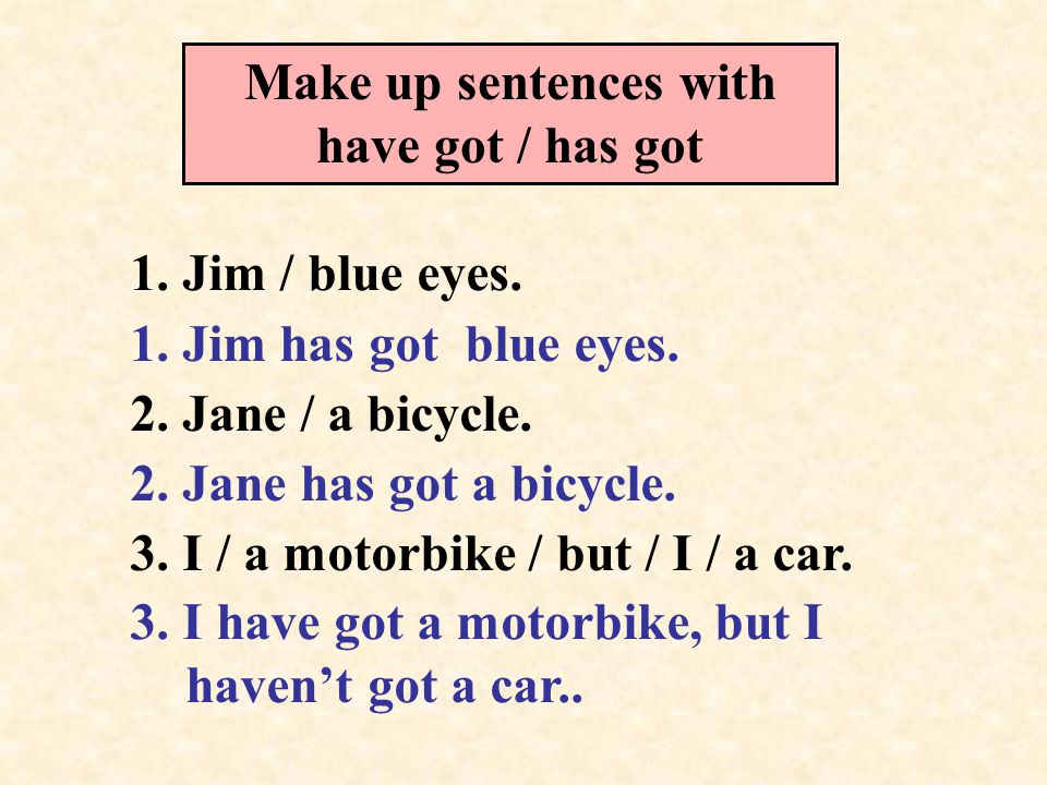 Make up sentences with have got / has got