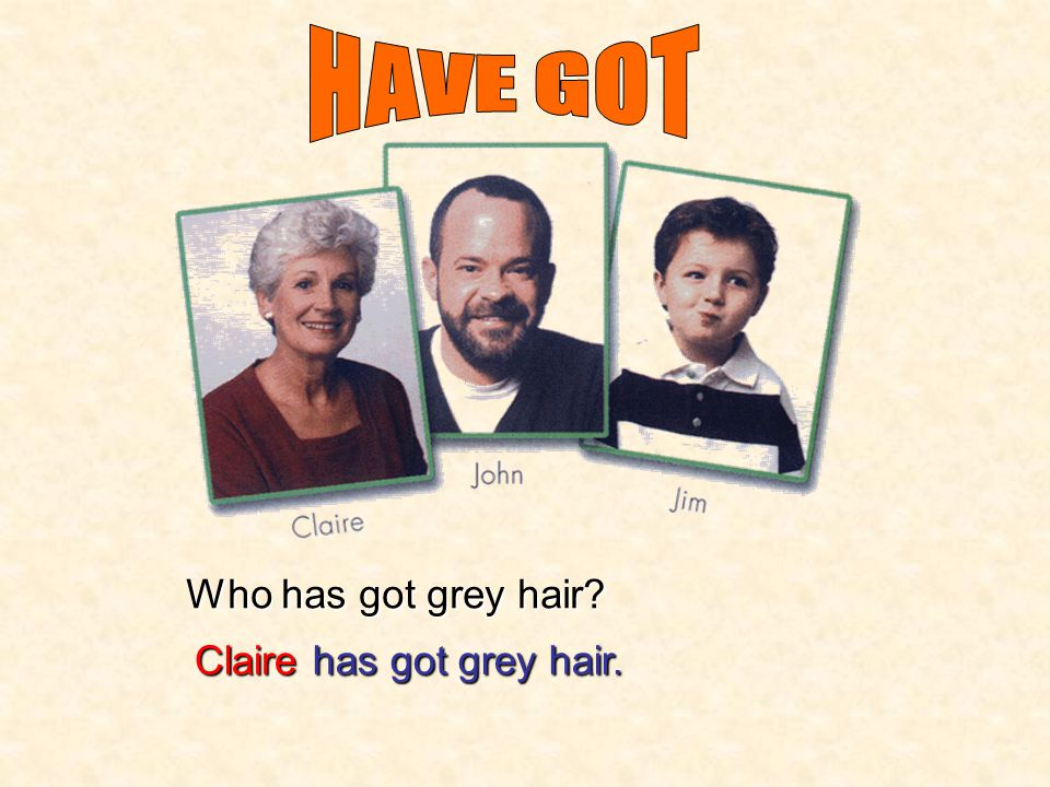HAVE GOT Who has got grey hair Claire has got grey hair.