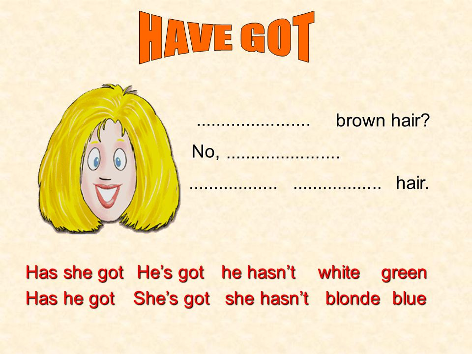 HAVE GOT ....................... brown hair No, ....................... .................. ..................