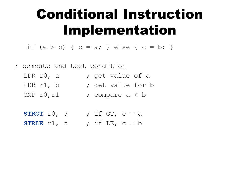 Conditional Instruction Implementation