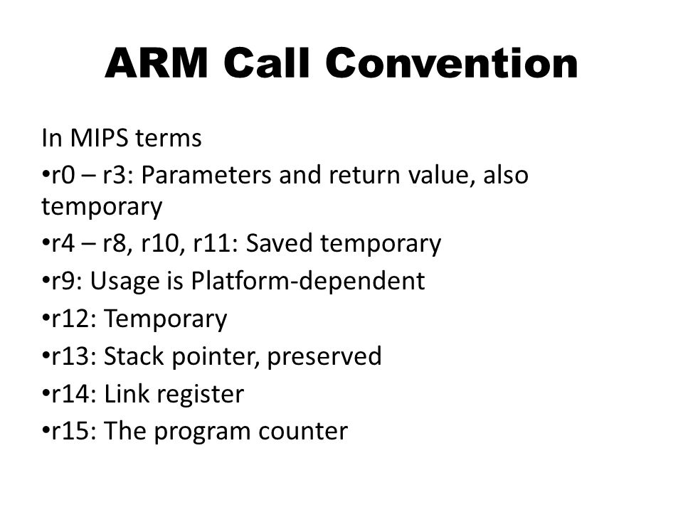 ARM Call Convention In MIPS terms