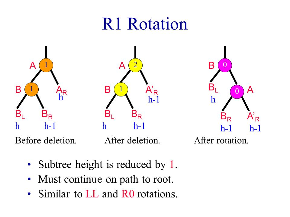 R1 Rotation Subtree height is reduced by 1.