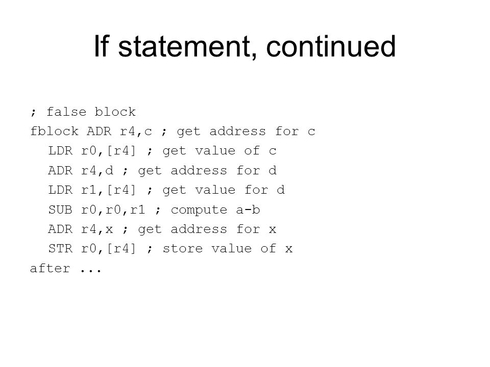 If statement, continued