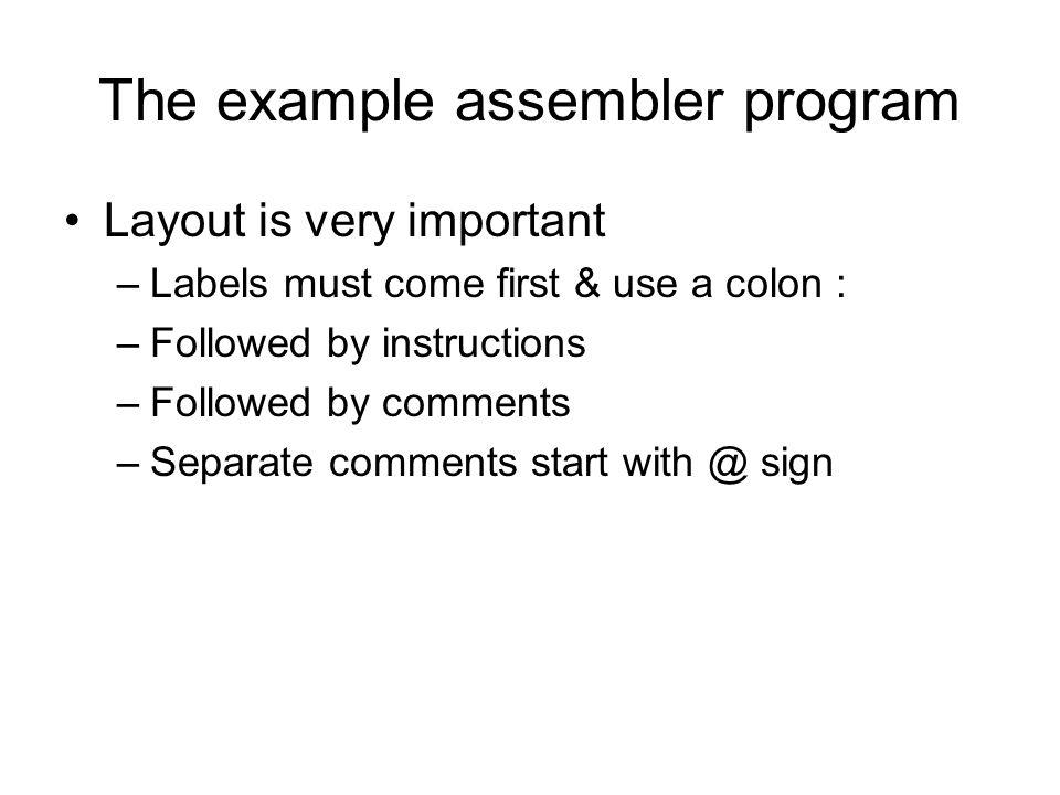 The example assembler program