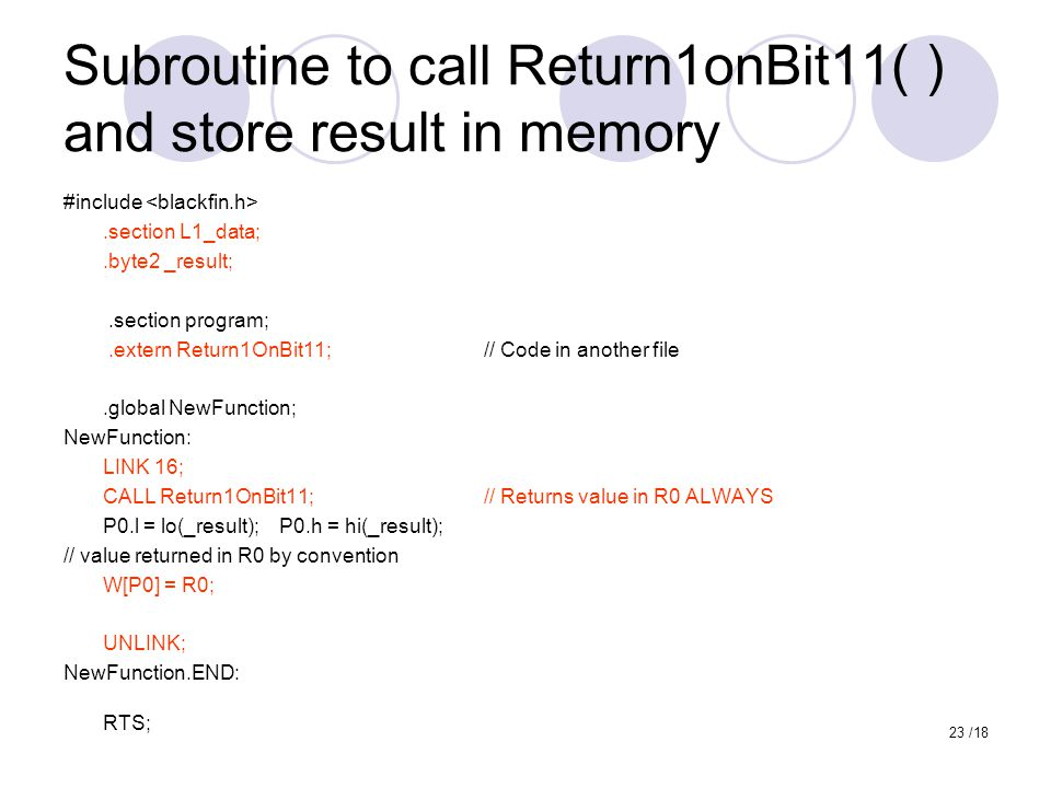 Subroutine to call Return1onBit11( ) and store result in memory