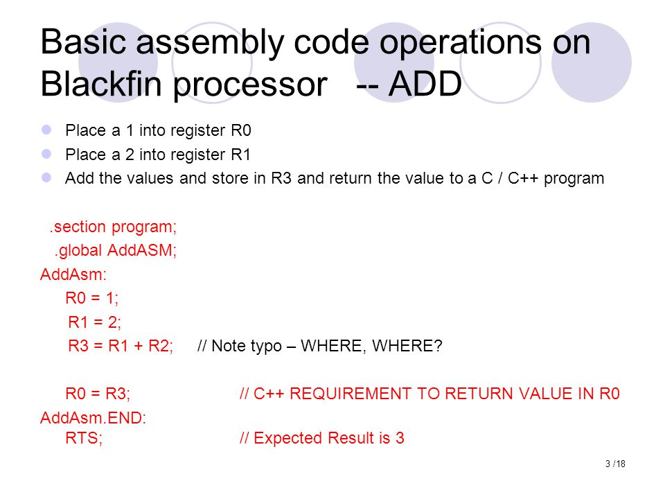 Basic assembly code operations on Blackfin processor -- ADD