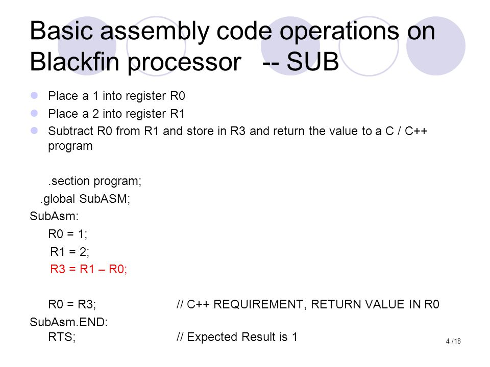 Basic assembly code operations on Blackfin processor -- SUB