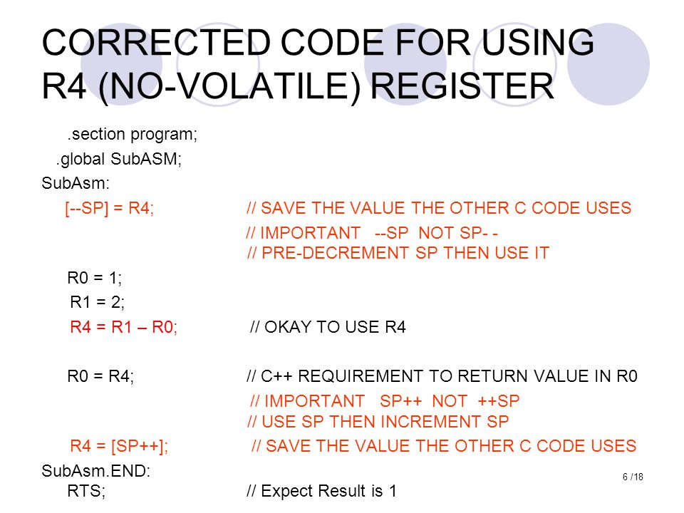 CORRECTED CODE FOR USING R4 (NO-VOLATILE) REGISTER