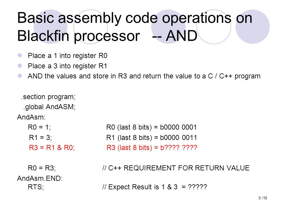Basic assembly code operations on Blackfin processor -- AND