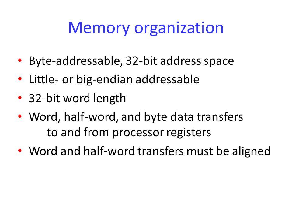 Memory organization Byte-addressable, 32-bit address space