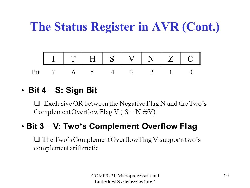 The Status Register in AVR (Cont.)