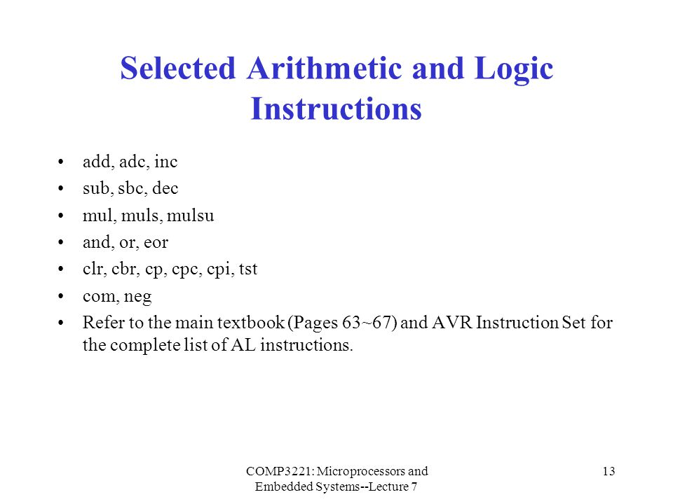 Selected Arithmetic and Logic Instructions