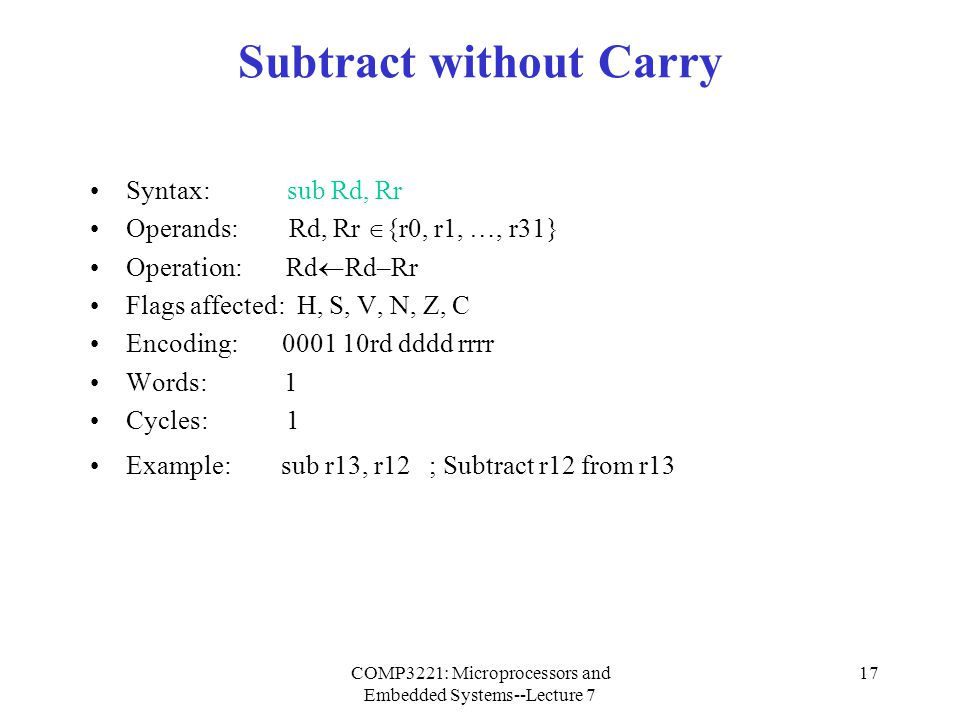 Subtract without Carry
