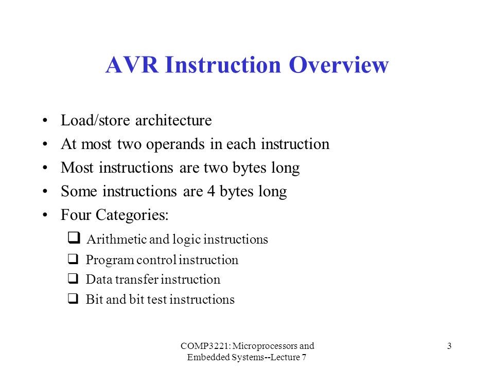 AVR Instruction Overview