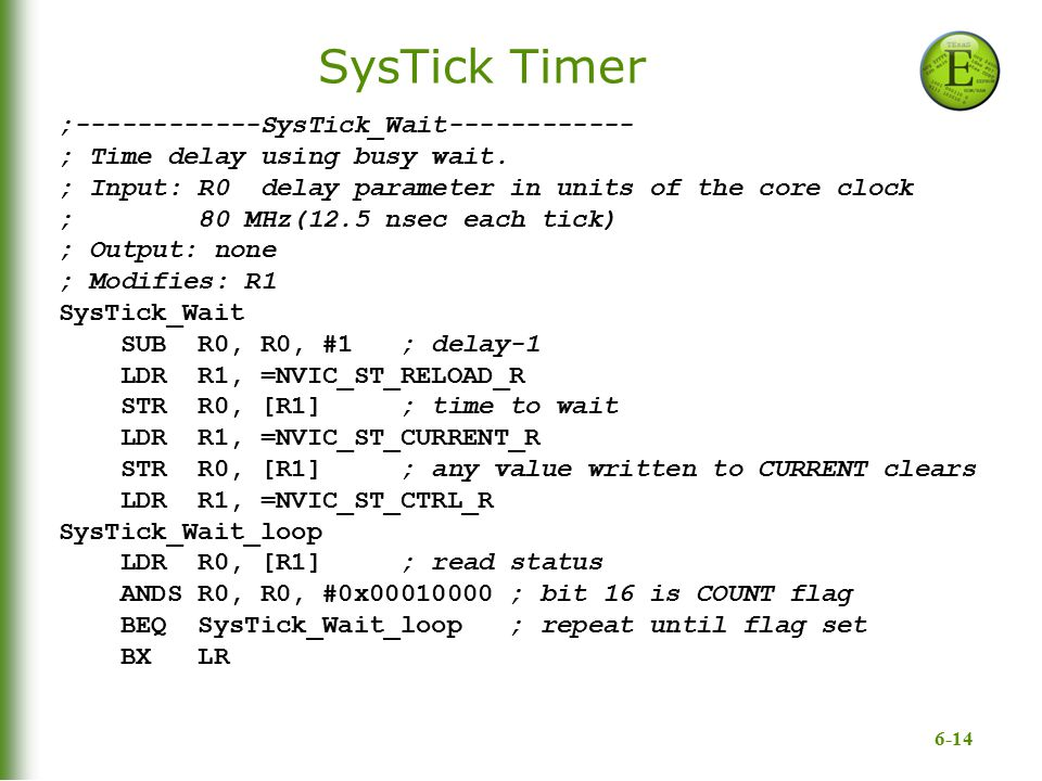 SysTick Timer ;------------SysTick_Wait------------
